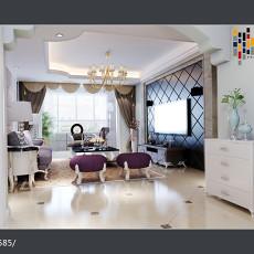 2018精选面积77平欧式二居客厅装修设计效果图片大全