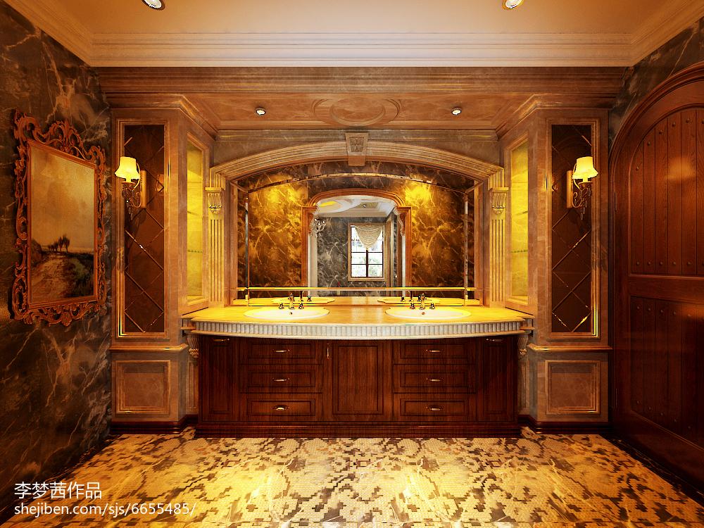 热门面积119平别墅卫生间美式装修图片欣赏