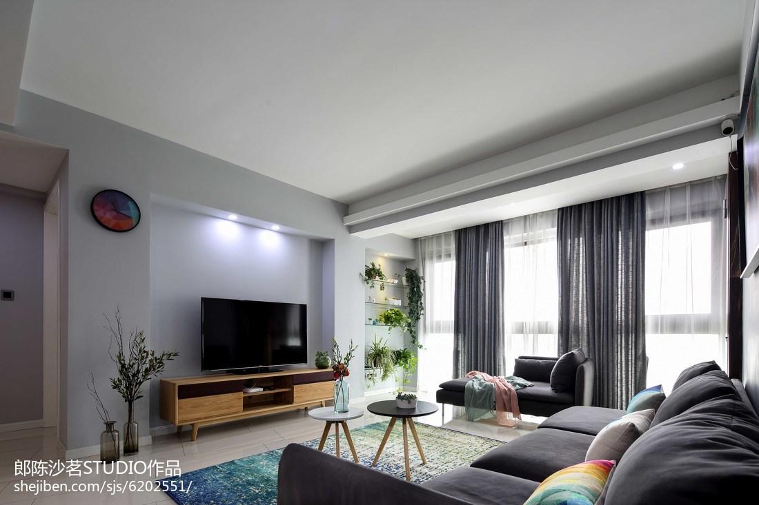 2018精选面积102平简约三居客厅装修效果图