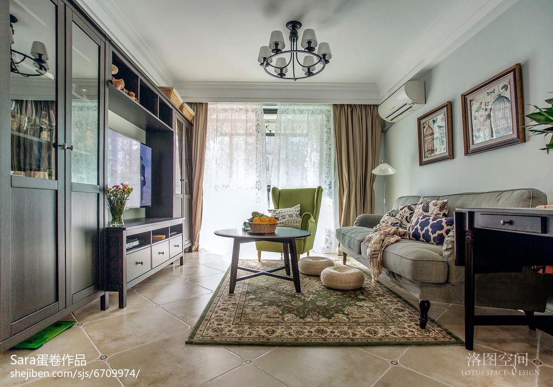201885平米二居客厅美式装修效果图片大全