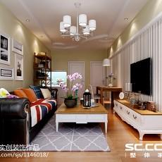 精美美式二居客厅装饰图片