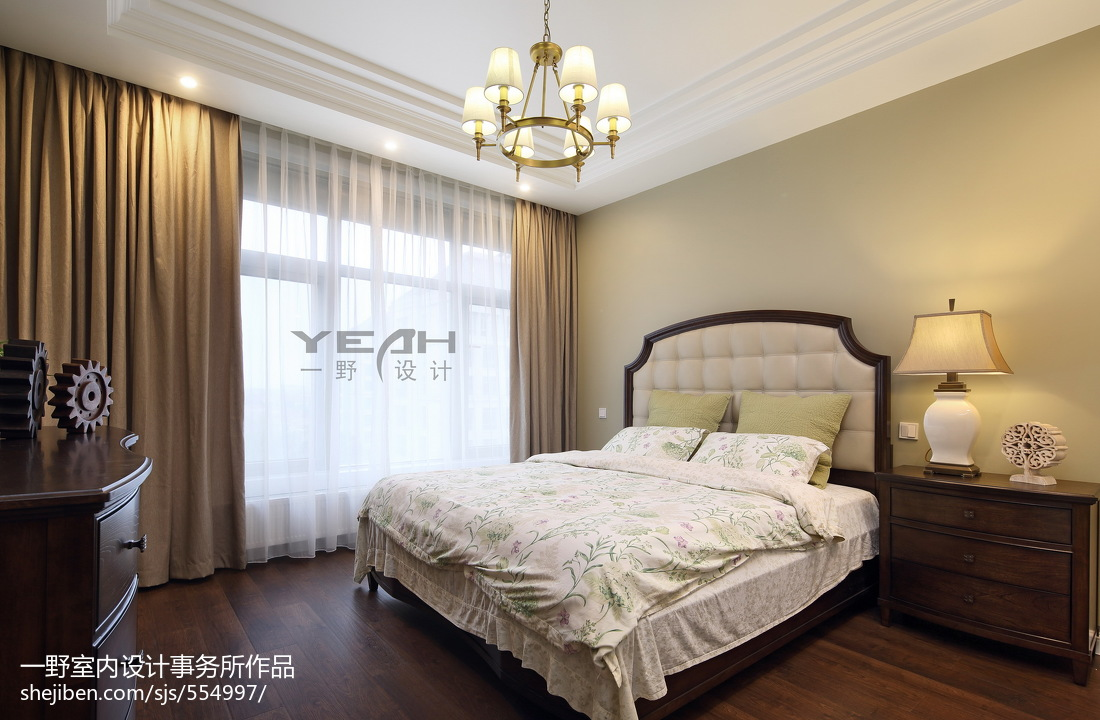 美式时尚家装风卧室装修图