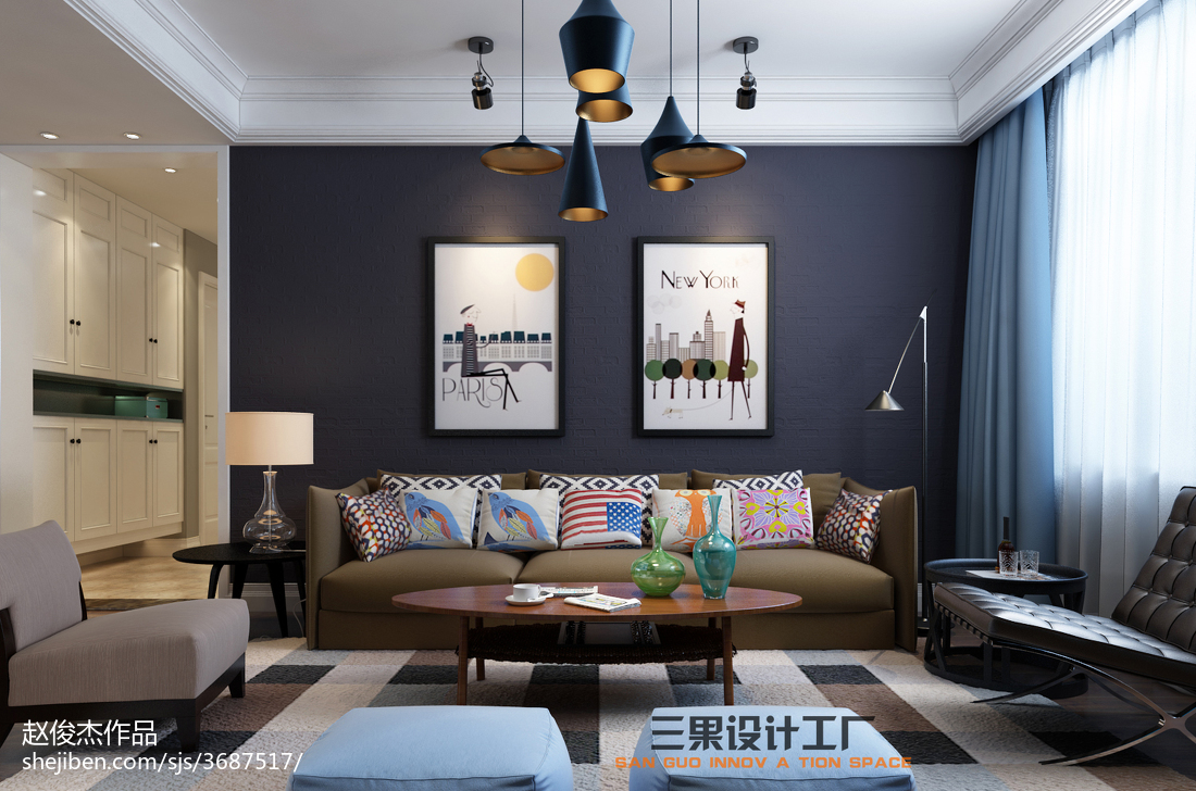 热门三居客厅宜家装修设计效果图片