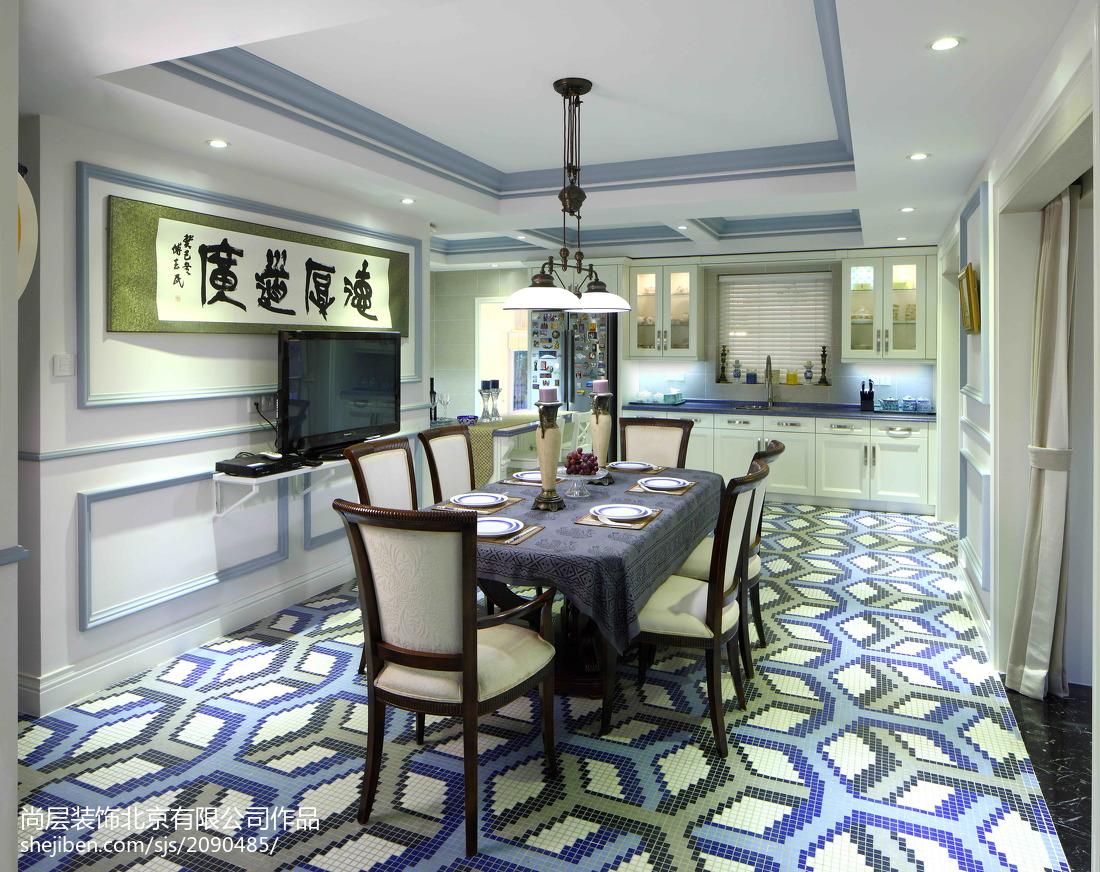 面积137平别墅餐厅美式装修设计效果图片