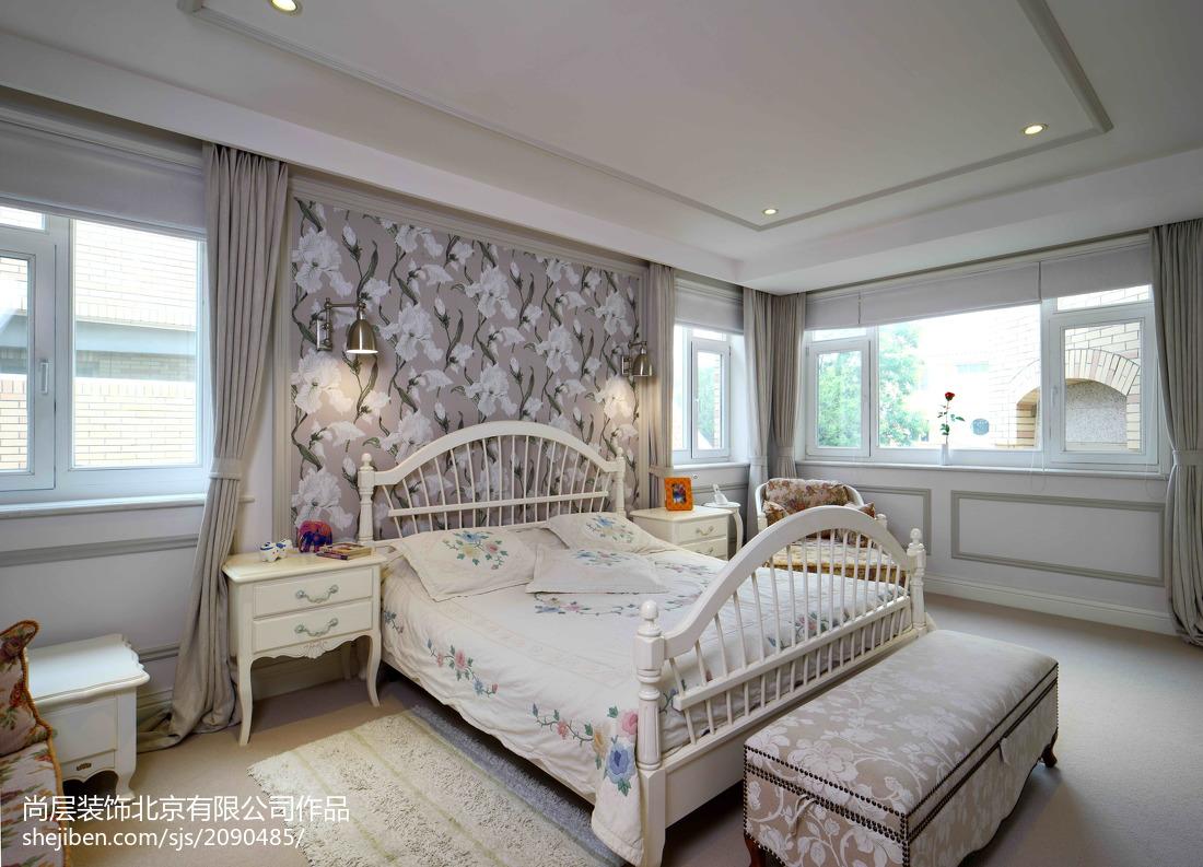 热门132平米美式别墅卧室装修实景图片大全