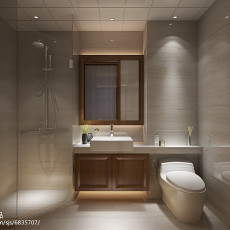 精美面积103平中式三居卫生间欣赏图