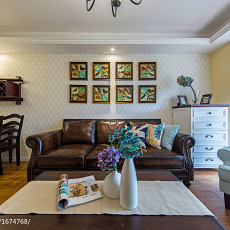 精美123平美式三居客厅案例图