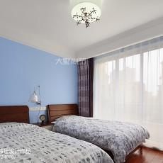2018面积94平美式三居卧室装修效果图片