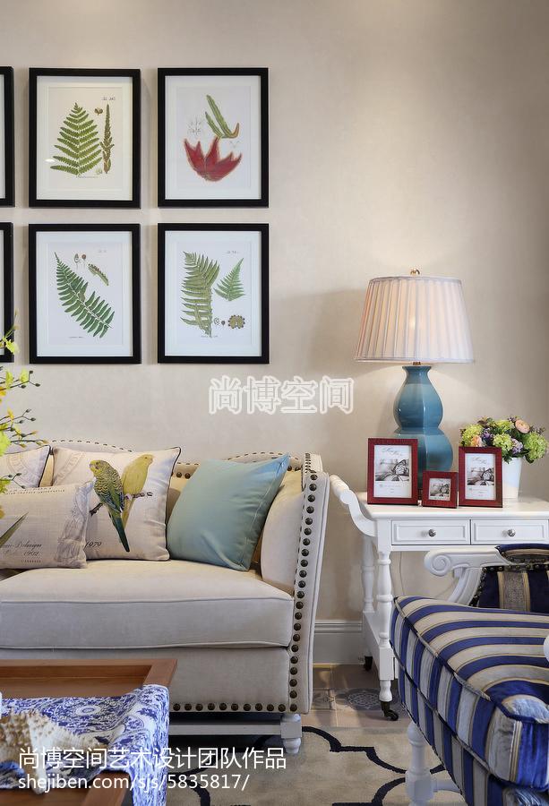 热门大小95平田园三居客厅装修实景图片