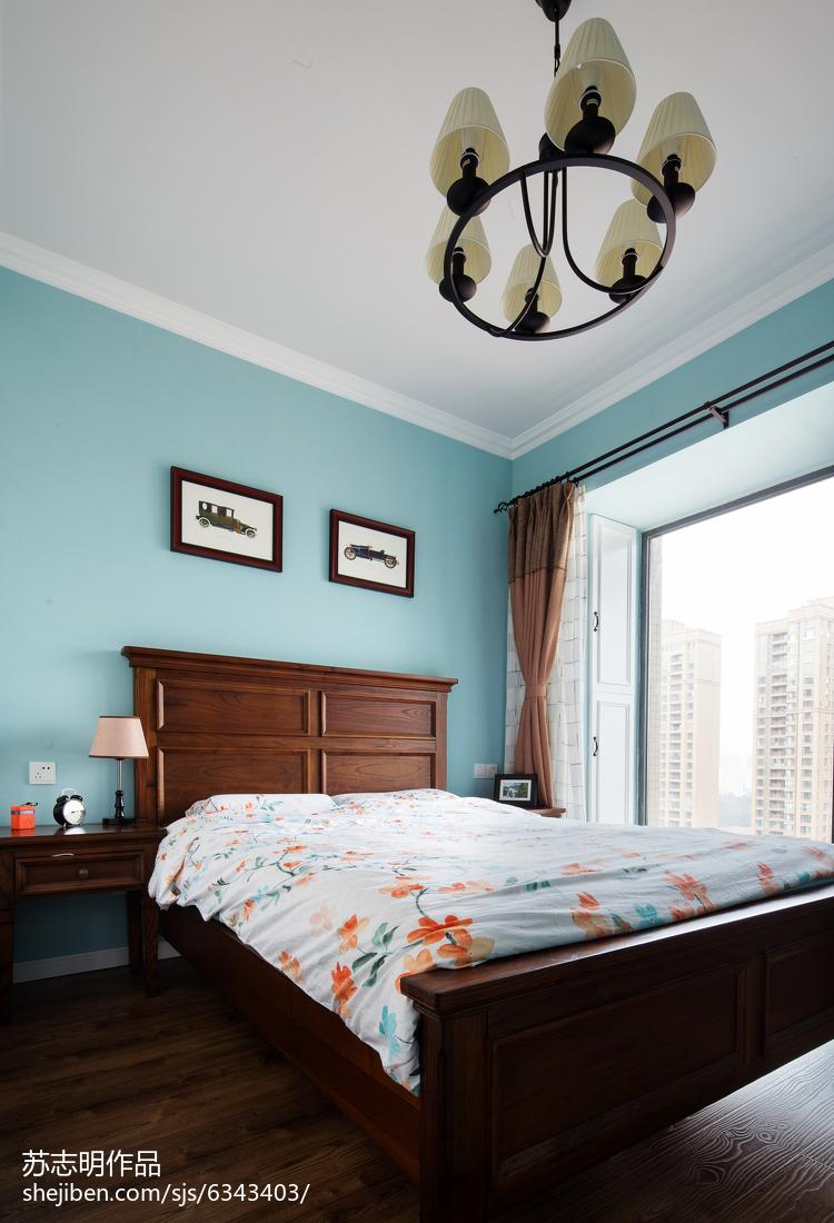 2018面积97平美式三居卧室装修设计效果图片大全