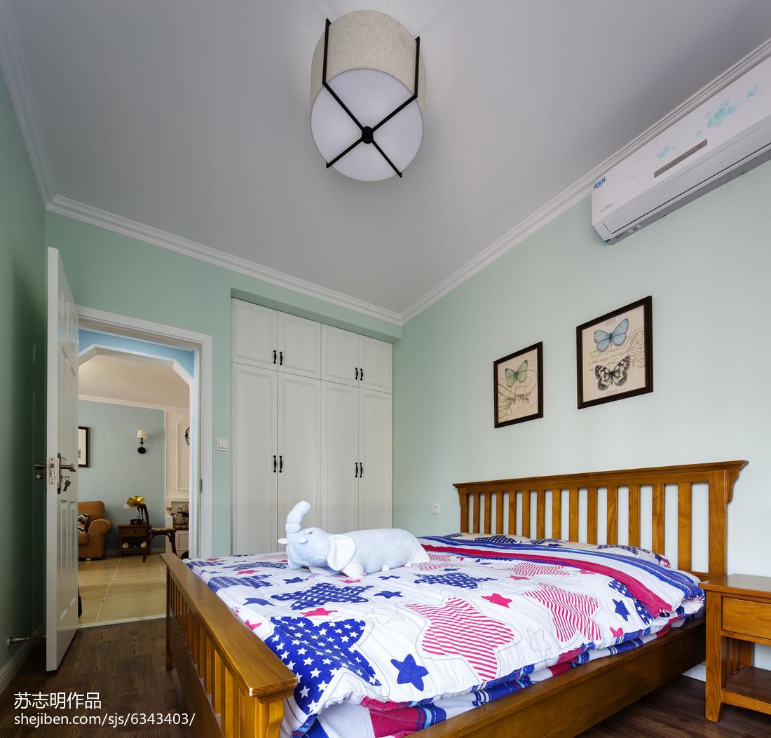 2018面积106平美式三居卧室实景图片大全