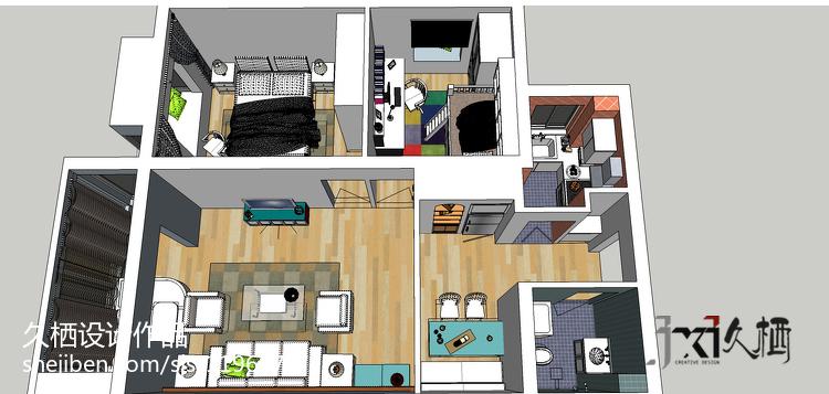 北欧古朴时尚二居室装修效果图