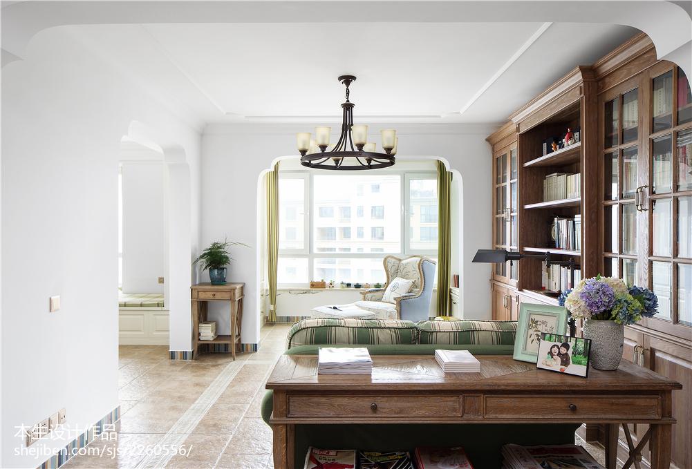 面积133平复式客厅美式装修设计效果图片大全