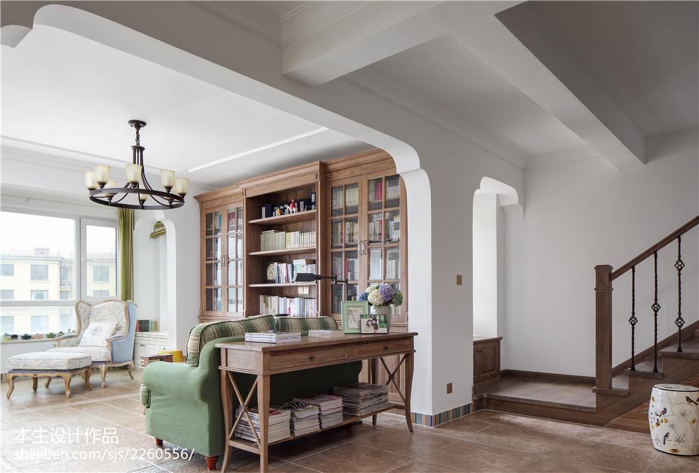 精选面积120平复式客厅美式装饰图片大全