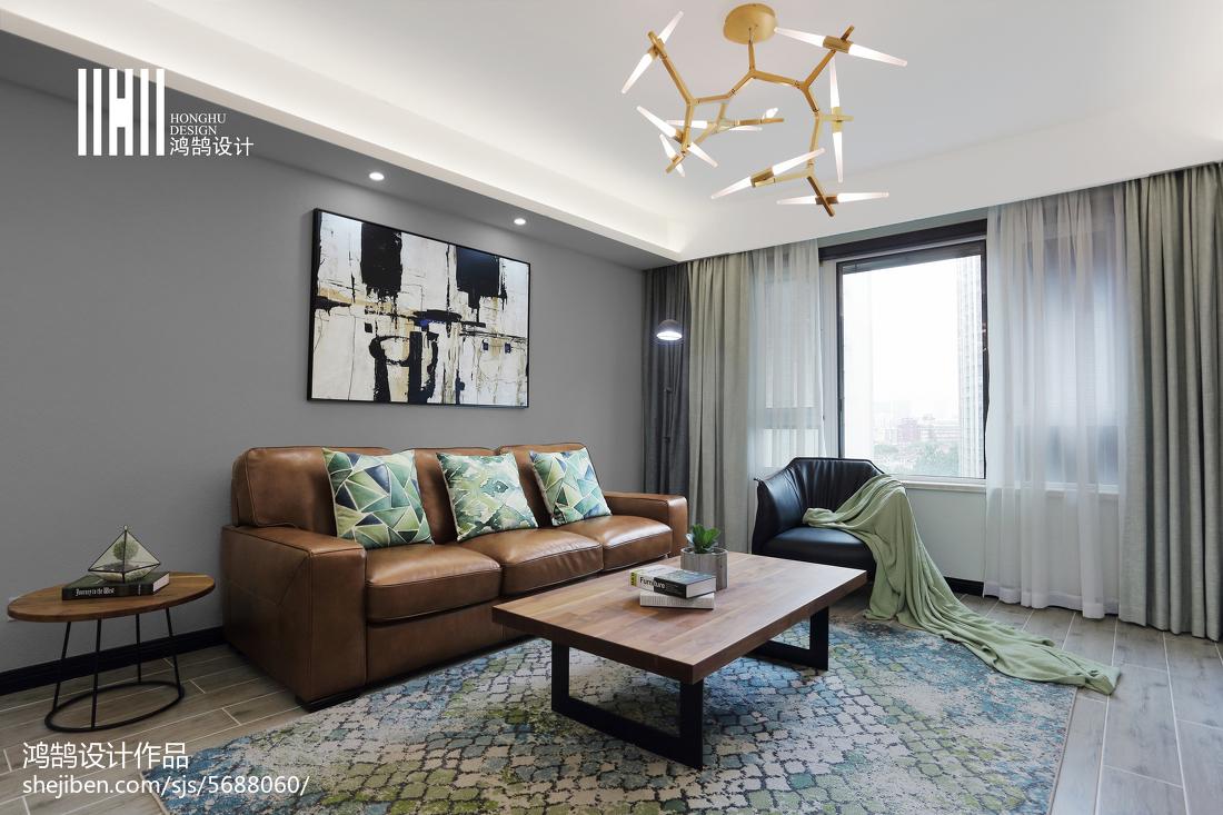 2018精选面积95平简约三居客厅装修效果图片