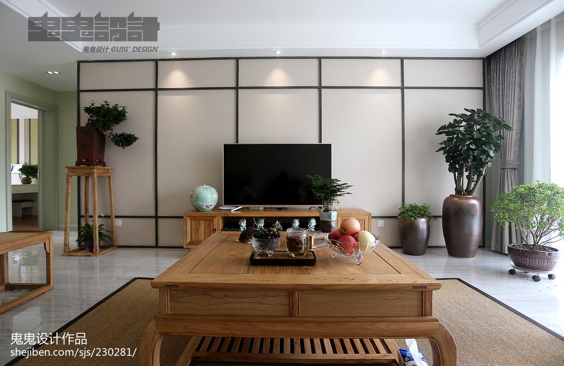 精选100平米三居客厅中式装修设计效果图片欣赏
