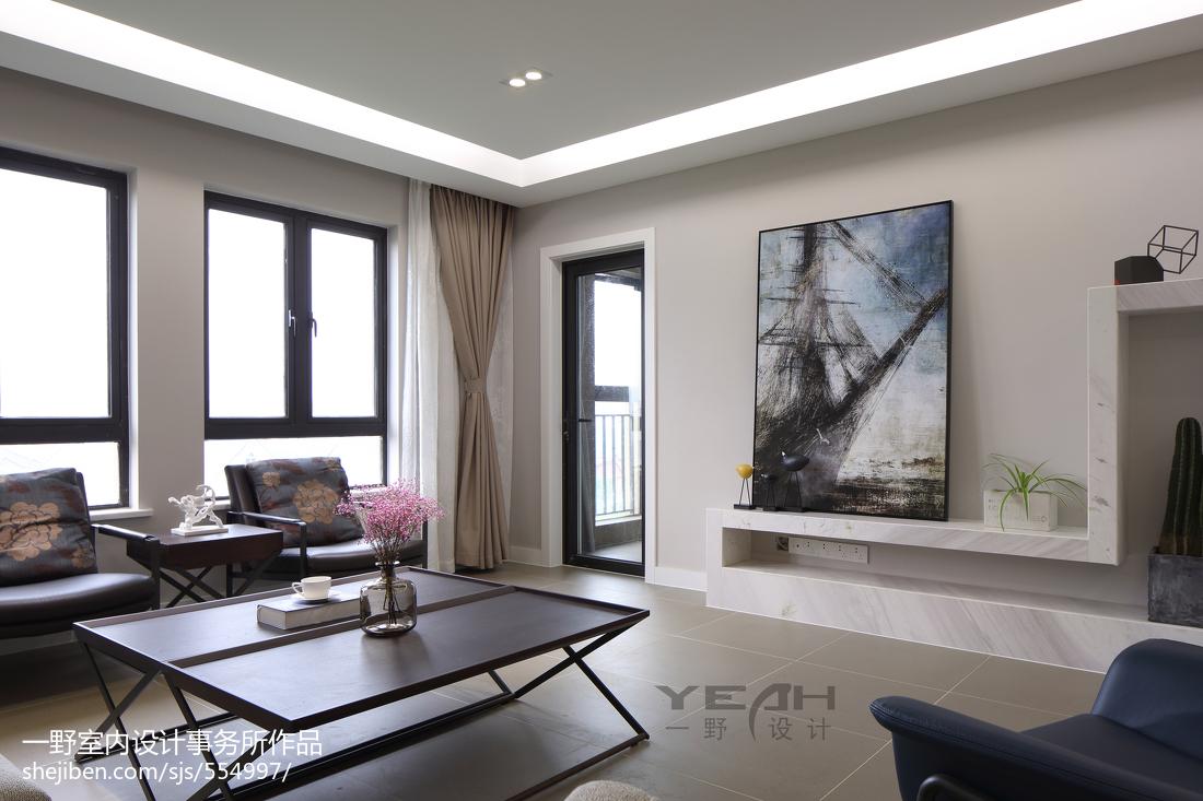 热门107平大小客厅三居现代效果图