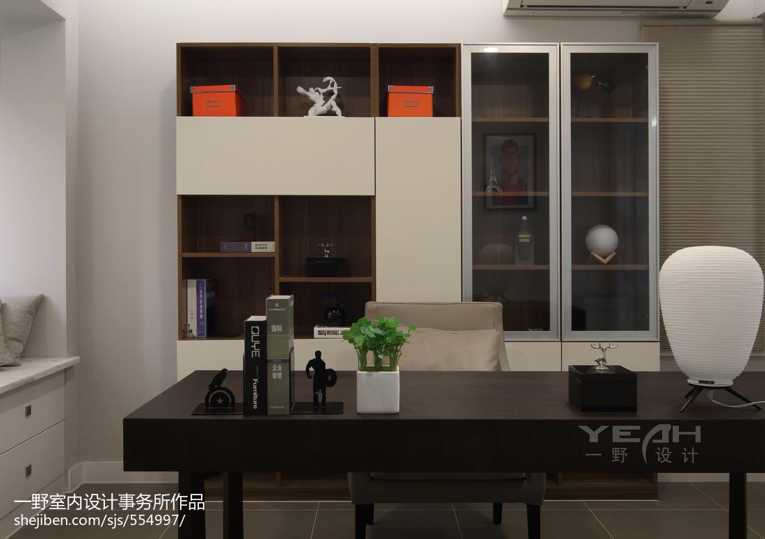 热门95平米三居书房现代欣赏图片大全