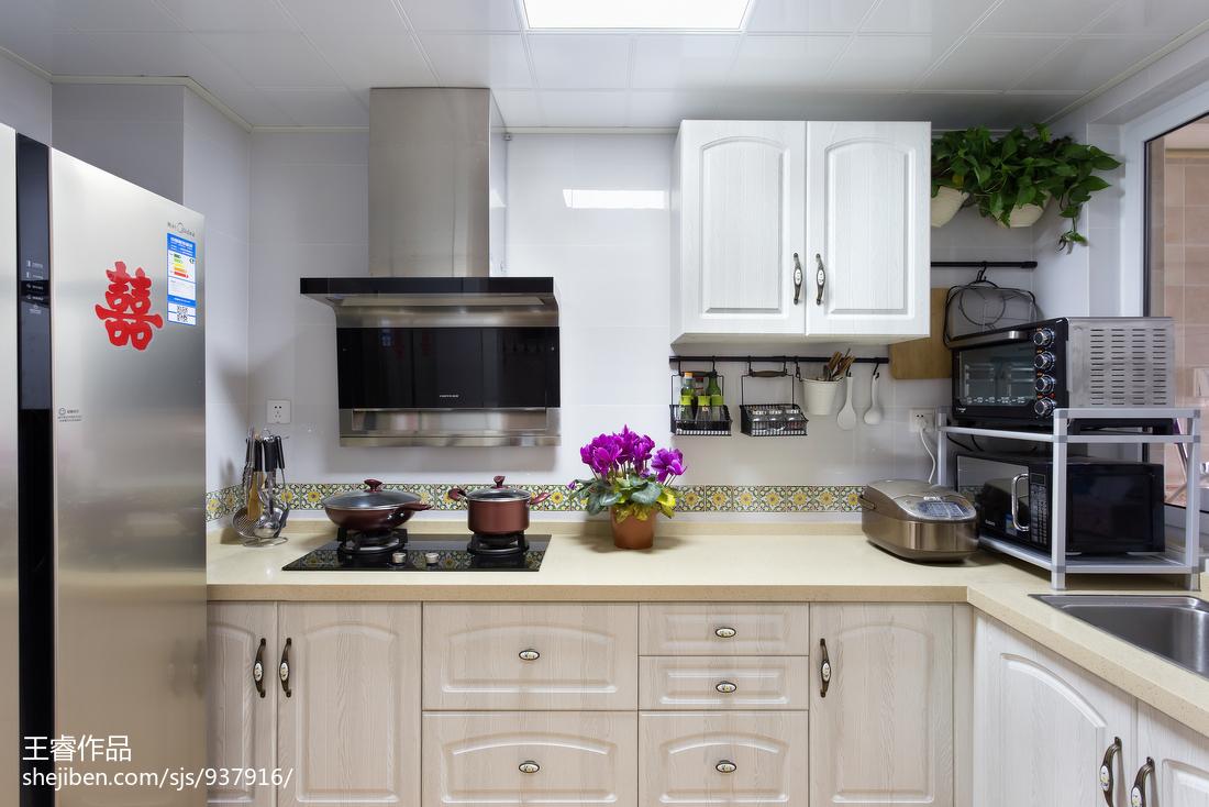 2018面积108平美式三居厨房装修欣赏图片