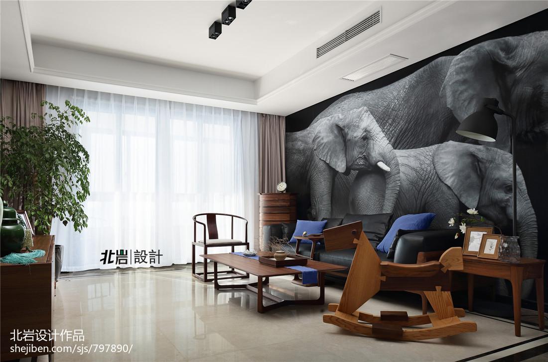 精选面积104平中式三居客厅效果图片