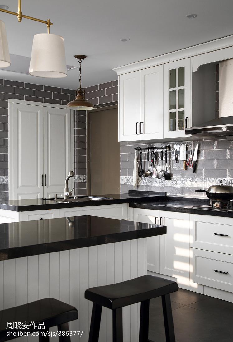 201977平美式复式厨房装修案例