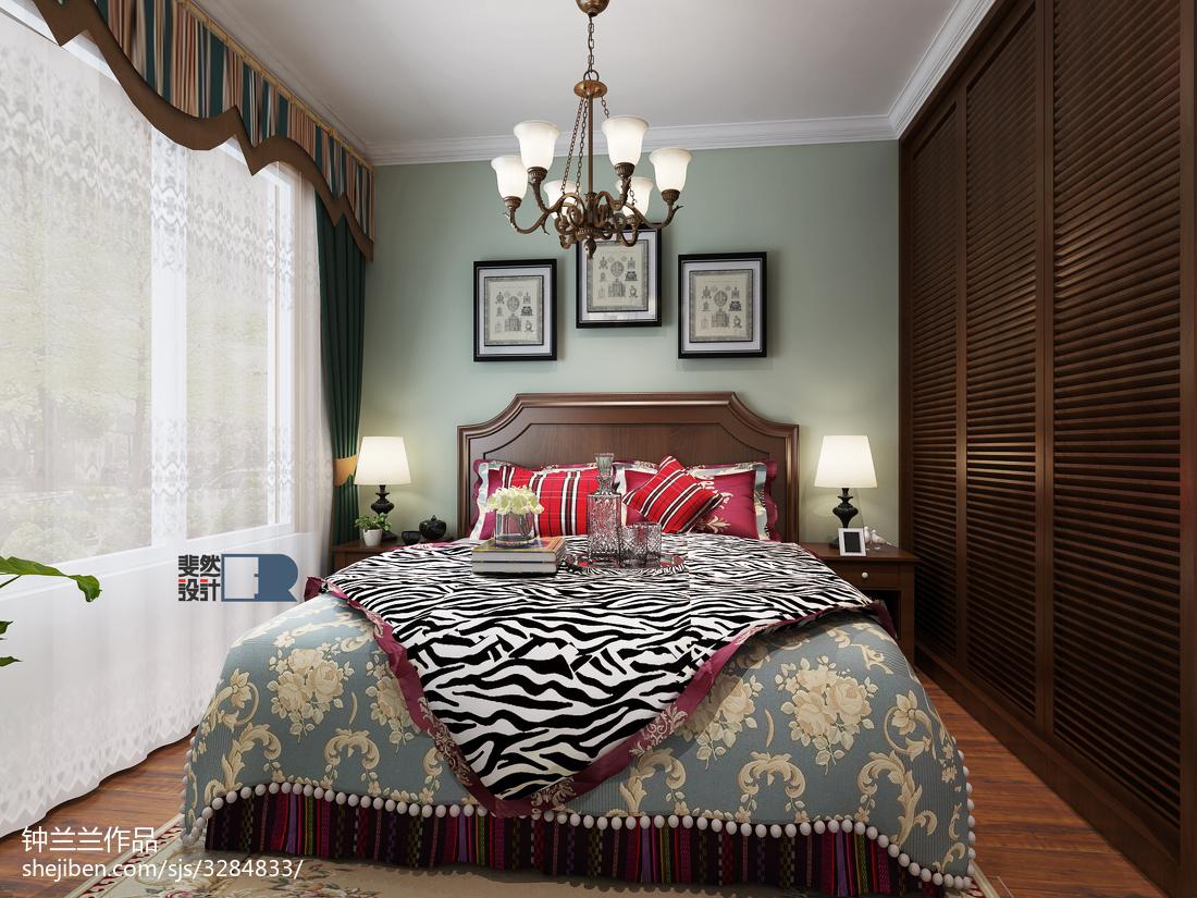 热门106平米三居卧室美式实景图片大全