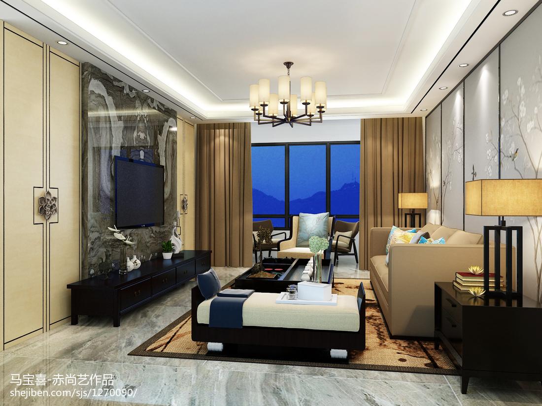 精选面积109平中式三居客厅装修实景图