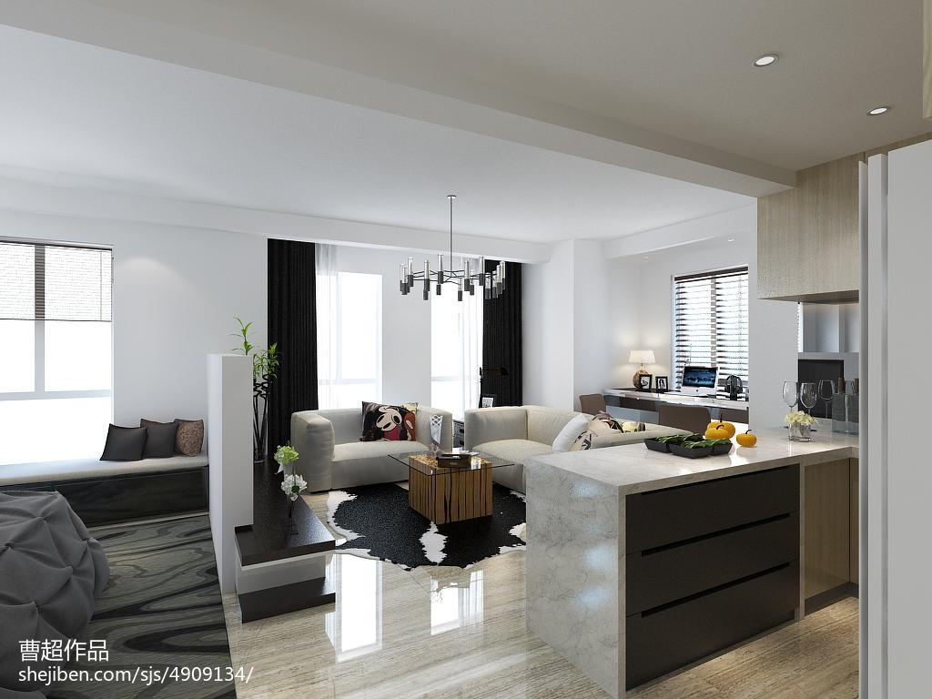 9万打造白色简约风格家居客厅装修效果图大全2014装修