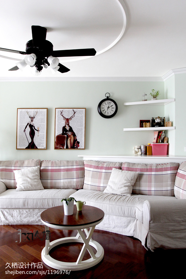 精选81平方二居客厅美式实景图