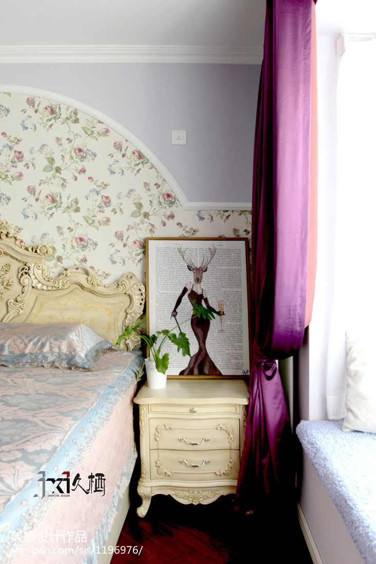 热门面积77平美式二居卧室装修图片大全