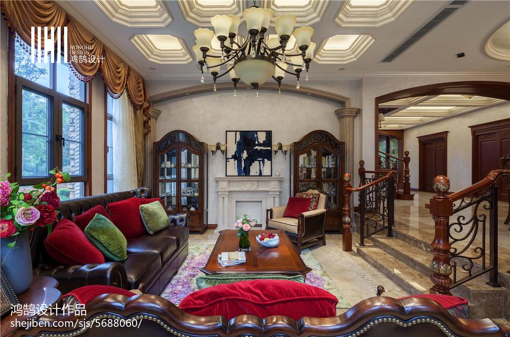 简洁587平美式别墅客厅效果图片大全