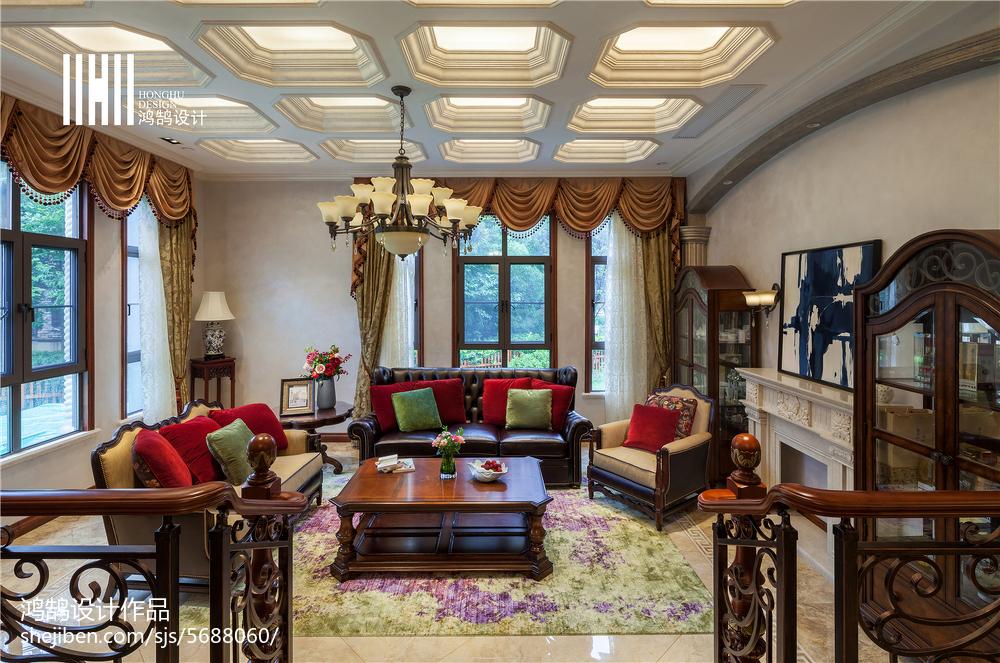 精美135平米美式别墅客厅效果图片大全