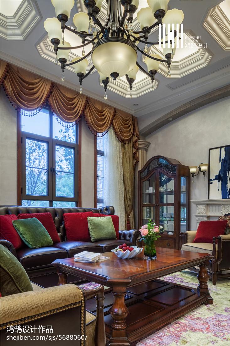 热门面积136平别墅客厅美式装修设计效果图片