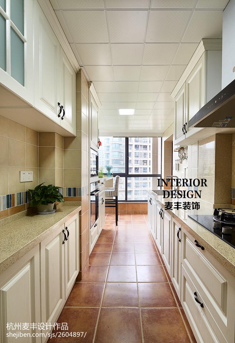 热门面积105平美式三居厨房装修图片大全