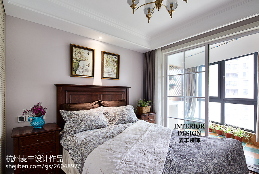 精选103平米三居卧室美式效果图片