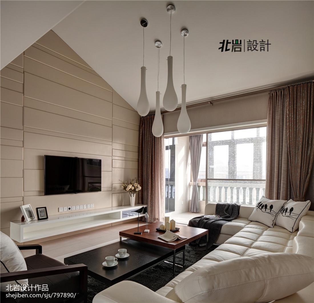 热门128平米现代复式客厅装修效果图片