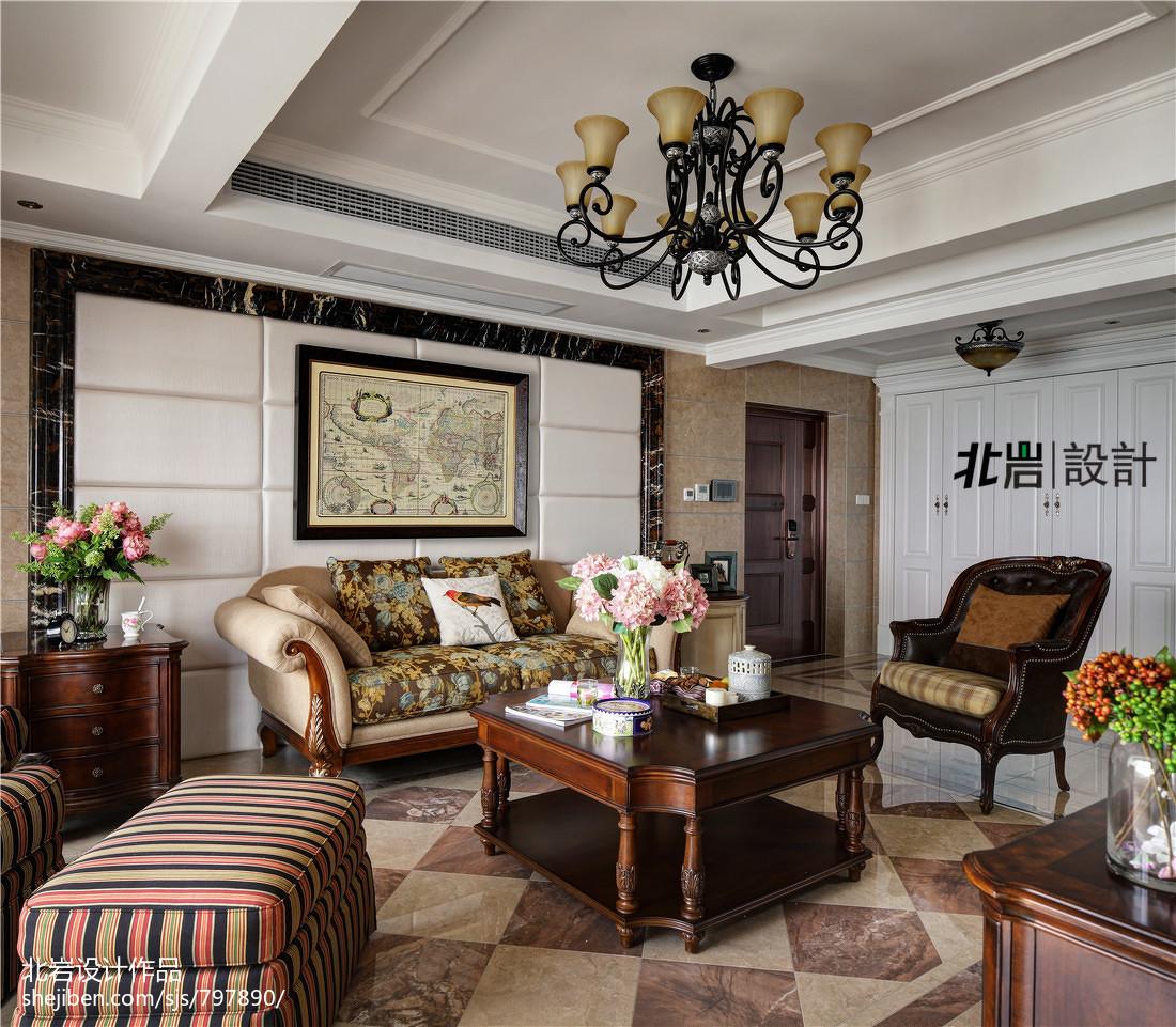 热门118平米美式复式客厅效果图片欣赏
