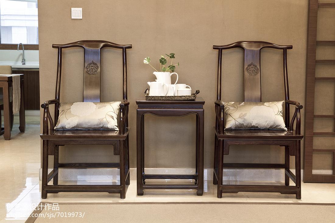 精美面积91平中式三居客厅装修设计效果图片欣赏