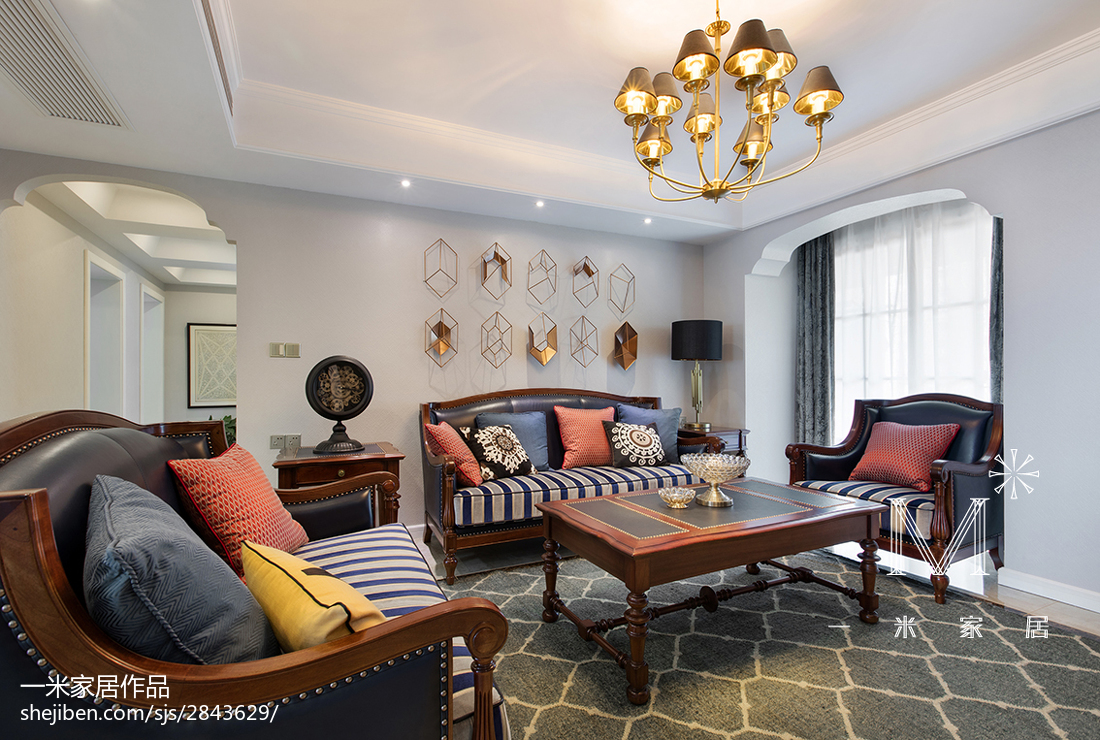 2018精选103平米三居客厅美式欣赏图