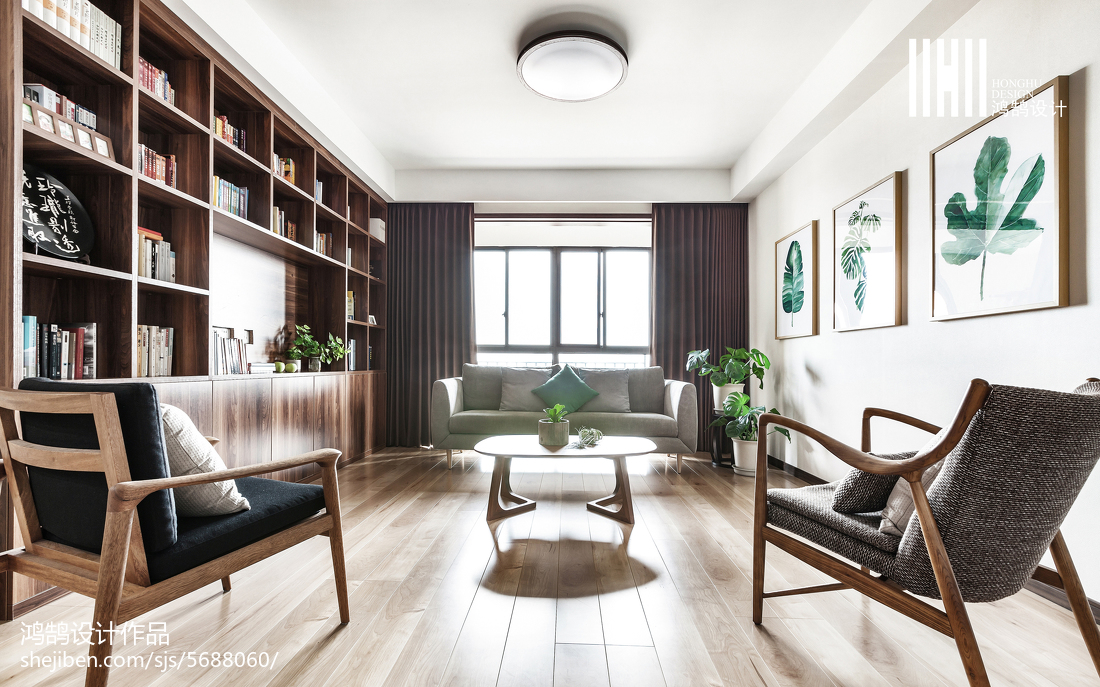 热门复式书房日式装修设计效果图片