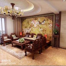 2018104平米三居客厅中式欣赏图片大全