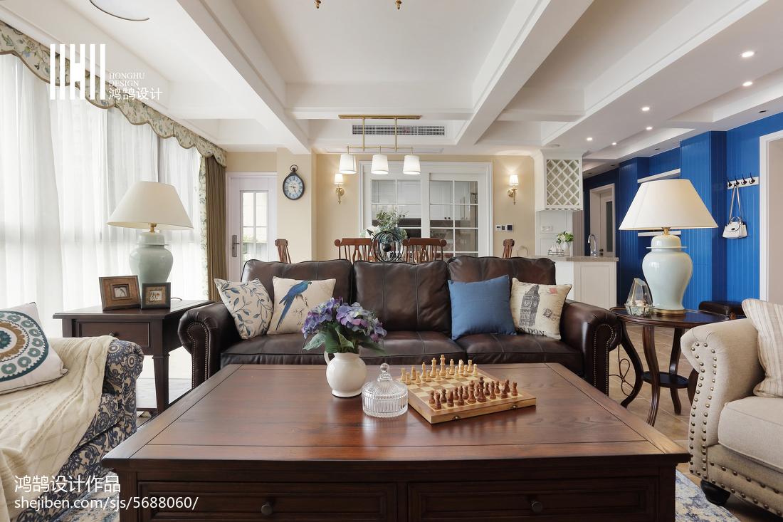 精美面积138平美式四居客厅欣赏图片大全