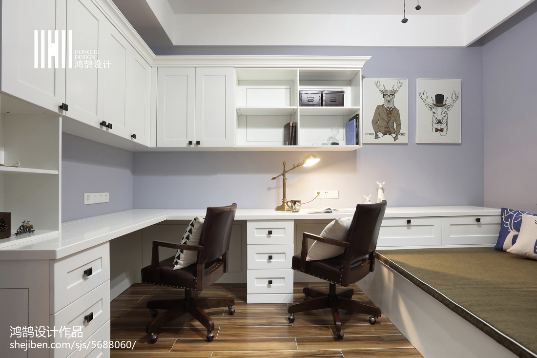 温馨107平美式四居书房设计效果图
