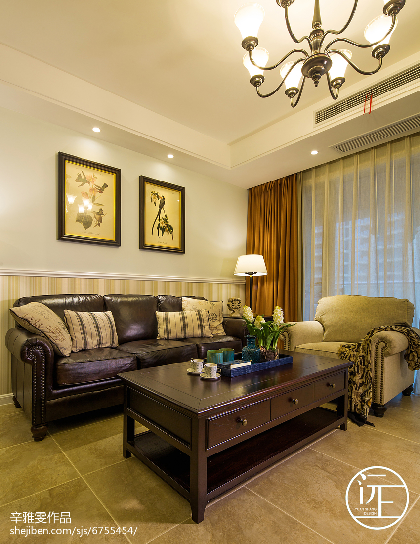 精选面积108平美式三居客厅装修实景图片