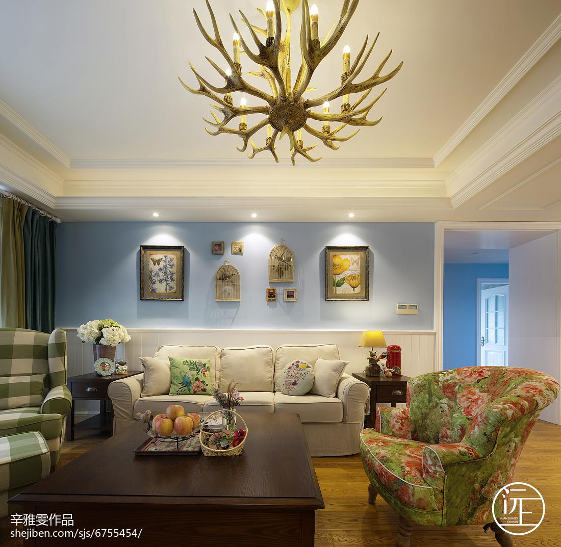 面积124平复式客厅美式装饰图片大全