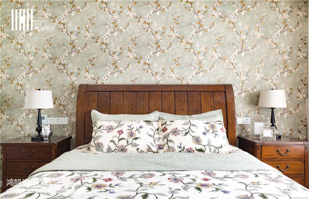 2018精选大小92平美式三居卧室装修设计效果图片欣赏
