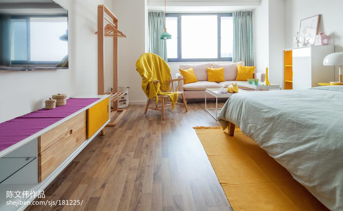 热门面积89平小户型卧室北欧装修实景图片大全