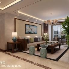 2018面积109平中式三居客厅装修实景图