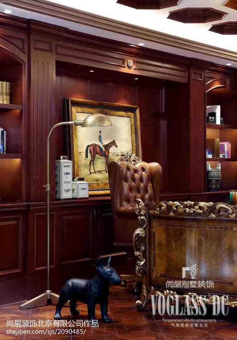 热门110平米新古典别墅书房实景图片欣赏