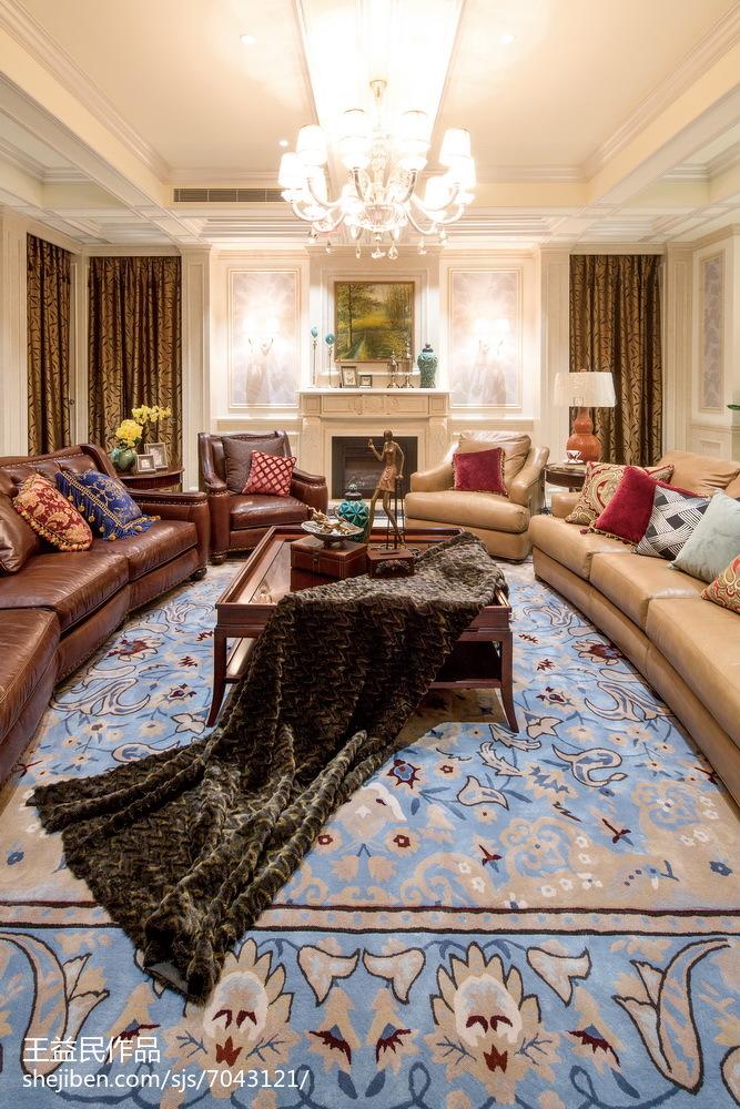2018精选面积126平别墅客厅美式装修欣赏图片大全